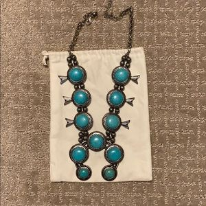 Chunky Turquoise Squash Blossom Necklace